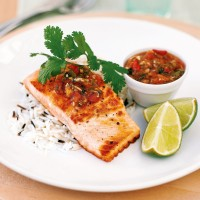 Roasted salmon with salsa picante recipe