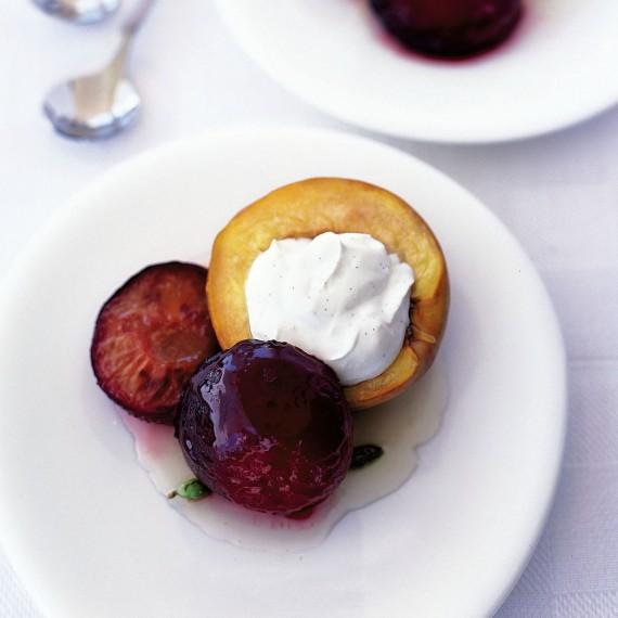 Roasted Stone Fruits with Cardamom and Honey and Vanilla Cream Recipe