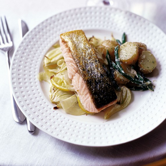 Lemon and Fennel Baked Salmon with New Potatoes, Green Beans and Dill Mayonnaise-recipes-woman and home