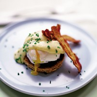 Poached eggs with chive hollandaise recipe