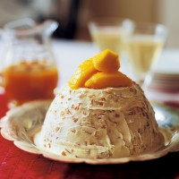 Iced coconut, mango and rum pudding recipe
