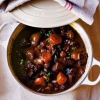 Venison casserole with boulangere potatoes recipe
