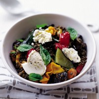 Puy lentil salad with roasted vegetables and goats� cheese recipe