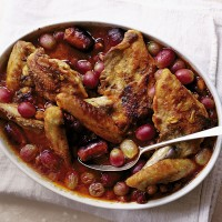 Braised guinea-fowl with manzanilla, grapes and chorizo recipe