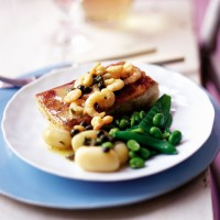 Roast halibut with shrimp and caper sauce recipe