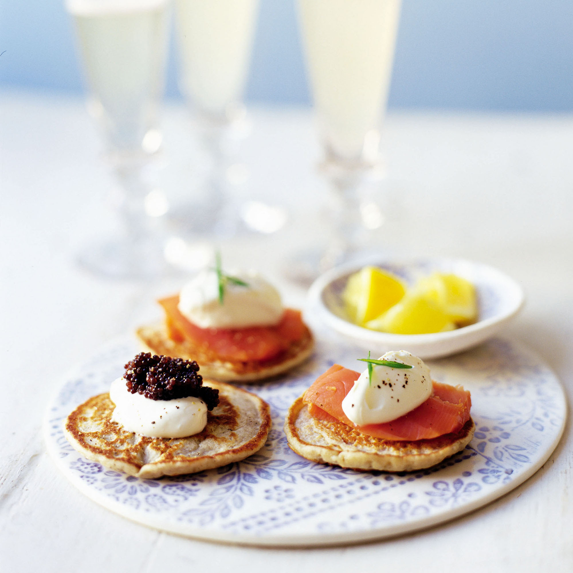 Smoked salmon and caviar blinis woman and home for Canape toppings ideas