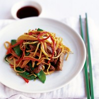 Stir-fried beef with egg noodles recipe
