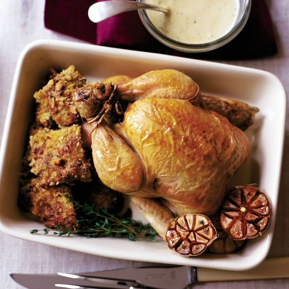 Proper Roast Chicken with Wild Boar Stuffing and Garlic Gravy recipe-new recipes-woman and home
