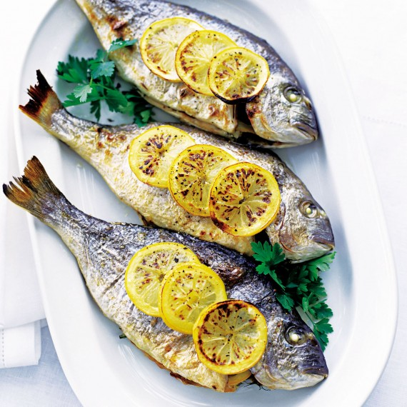 baked sea bream with lemon and parsley woman and home