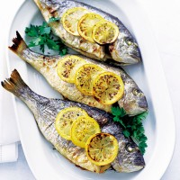 Baked sea bream with lemon and parsley recipe