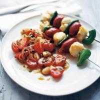 Monkfish, chorizo and romano pepper kebabs recipe