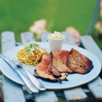 Teriyaki beef with wasabi mayonnaise and chilled noodle salad recipe