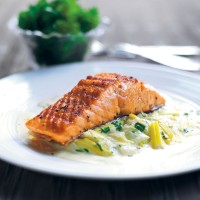 Chargrilled salmon with leek and tarragon sauce recipe