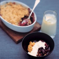 Apple and dark fruit crumble with vanilla custard recipe