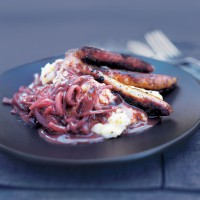 Sausage and celeriac mash with red onion gravy recipe