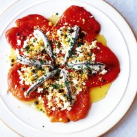 Roasted pepper and anchovy salad with Mimosa eggs recipe