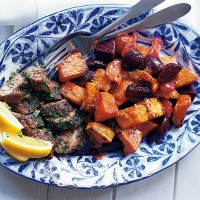 Roasted sweet potato, beetroot and pepper salad with sherry vinegar dressing recipe