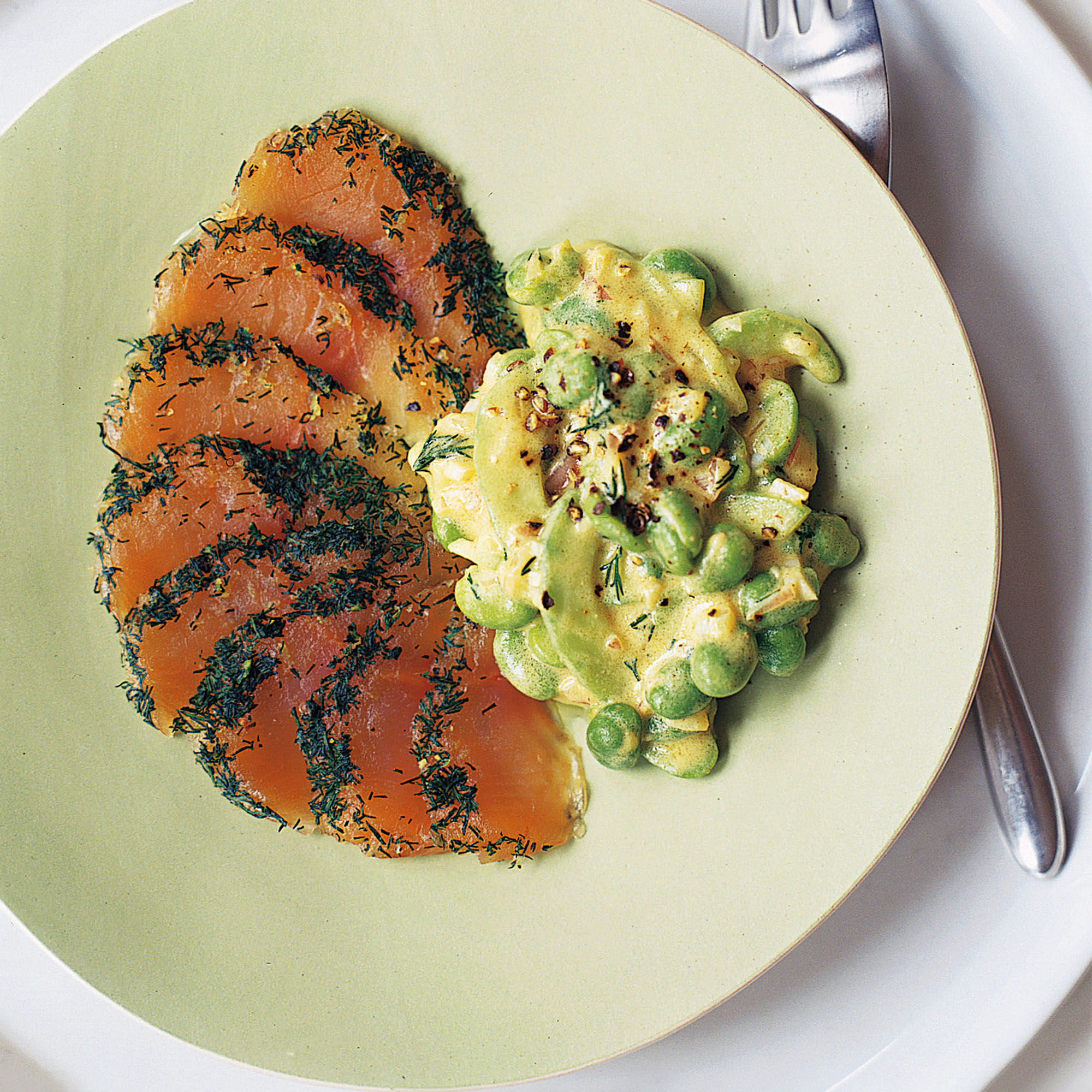 Trout Gravadlax with Broad Bean and Cucumber Salad Recipe