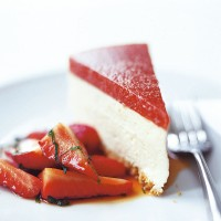 Orange cheesecake with strawberry and Pimms jelly and strawberry and mint salad recipe