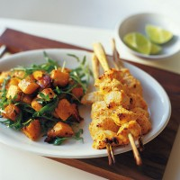 Lemongrass chicken skewers with spicy squash salad recipe
