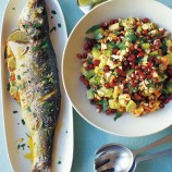 Sea Bass with Avocado and Pomegranate Salad