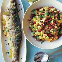 Baked sea bass recipe with avocado and pomegranate salad recipe