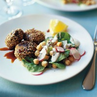 Sesame lamb patties with chickpea and spinach salad recipe