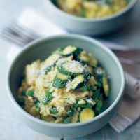 Artichoke, courgette and pea risotto recipe
