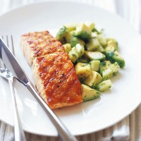 Char grilled salmon with avocado, cucumber and dill salad recipe