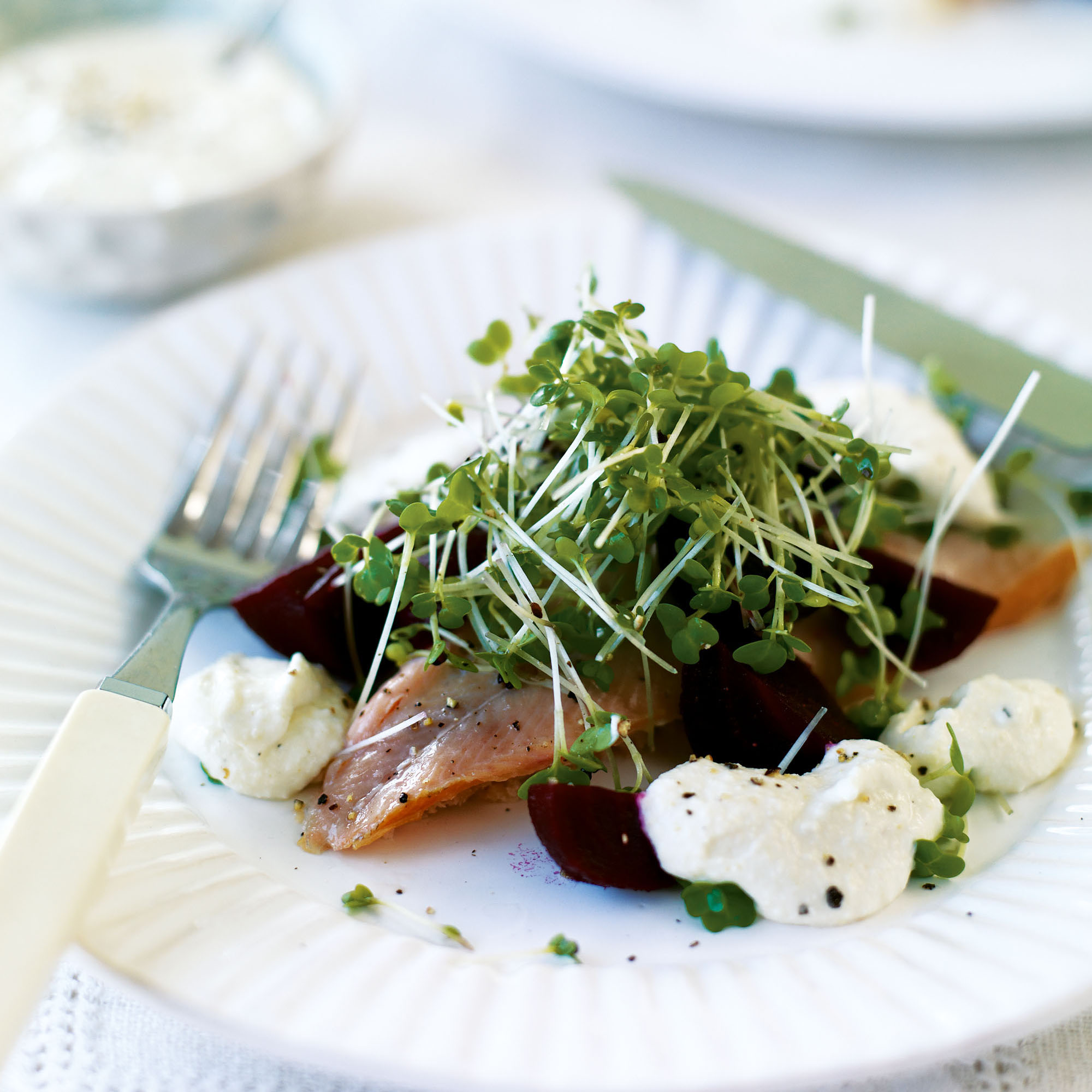 smoked trout with horseradish beetroot and cress woman