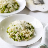 Rich pea and parmesan risotto recipe