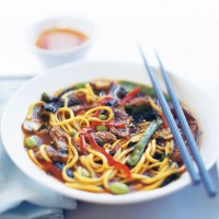 Beef and ginger broth with noodles recipe
