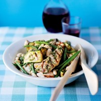 Griddled chicken salad with courgettes and cannellini beans recipe