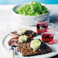 Griddled steaks with melted stilton recipe
