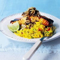 Grilled tikka salmon with spicy rice pilaf recipe