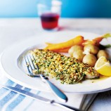 Baked almond-crusted trout fillets recipe