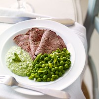 Roast beef with horseradish, rocket and mint pesto recipe