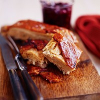 Roast pork belly with sour cherry chutney recipe