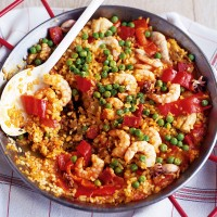 Chicken, chorizo and squid paella recipe