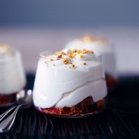 Lemon syllabub with peaches and Amaretti recipe