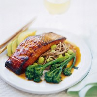 Salmon teriyaki with soba noodles recipe