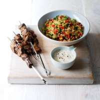 Spiced Lamb Skewers with Bulgur Wheat Salad