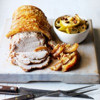 Roasted pork loin with baked apple and onion chutney recipe