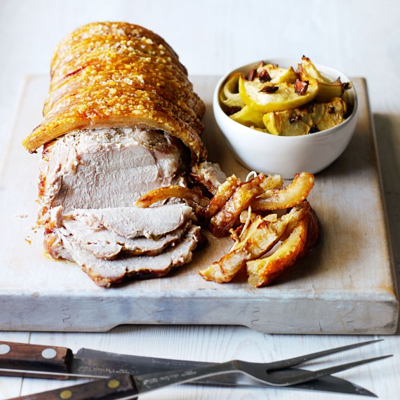 Roasted Pork Loin with Baked Apple and Onion Chutney - Woman And Home