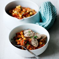 Chickpea and smoky sausage quick casserole recipe