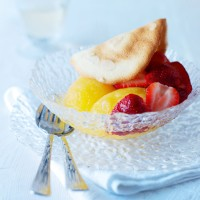 Cheat's peach sorbet with Muscat and almond tuiles recipe