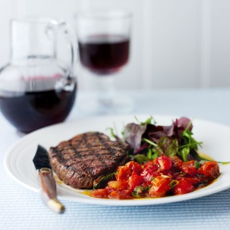 Griddled Rump Steaks with Balsamic Tomatoes