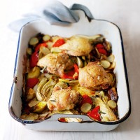 One pan chicken thighs with roasted vegetables recipe