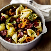 Conchiglie with chorizo, chickpeas and roasted butternut squash