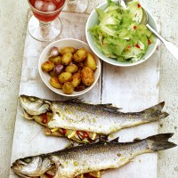 Oven-roasted whole sea bass with fennel and chilli recipe